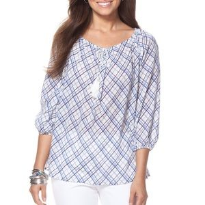 Chaps crinkle plaid peasant top in blue shades